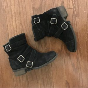 Black suede shearling UGG boots